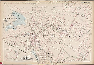 1910 G.w. Bromley, Harrison, Rye, Purchase Westchester County New York Atlas Map