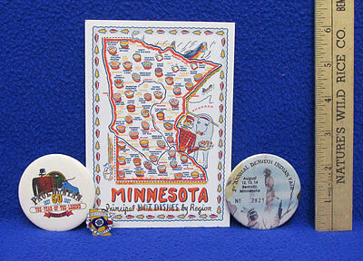 Paul Bunyan Babe Blue Ox MN Souvenirs Indian Fair Pin Buttons Postcard Hotdishes