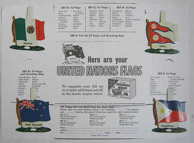 THIRTEEN DIFFERENT SET D 1959 Nabisco Shredded Wheat FOREIGN Flags W/ ORDER FORM