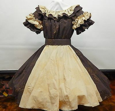 2 Piece Tan And Brown Square Dance Dress