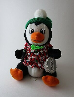 "Coca-Cola Branded Bean Bag Plush Penguin 7"" 1999 Style #0205"