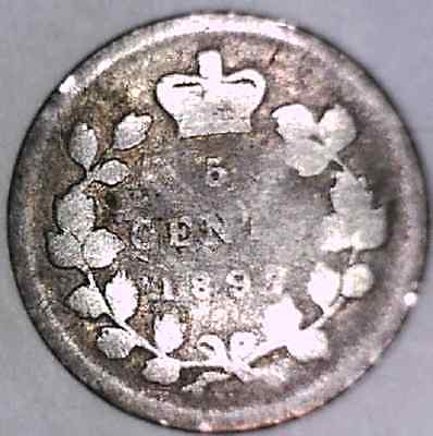 1897 Narrow Date, G-VG Canada Five Cents Silver #1