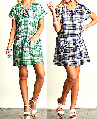 Umgee Dress Size XL S M L Blue Green Plaid Country Shift Tunic Boho Womens New