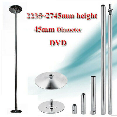 45mm DANCE POLE PORTABLE EXERCISE SPINNING GYM DANCING KIT 2235-2745mm