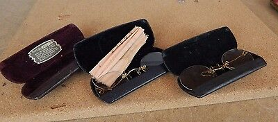 2 pairs of Antique Pinch Nose Reading Glasses and 3 cases.props theatre film tv