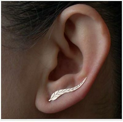 Exquisite brand  Gold Plated Leaf Modern Beautiful Feather Stud women Earrings
