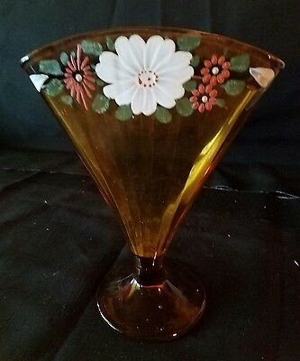 Vintage Amber Tint Fan Shaped Vase