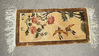 """Nice Vtg 24"""" Small Chinese All Fine Silk Rug Carpet Wall Hanging 2 Sparrow Birds"""