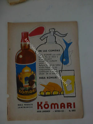 VERMOUTH KOMARI WITH SELTZER SYPHON IN OLD AD 1 ADVERTISING fromARGENTINA #2