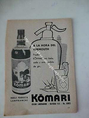 VERMOUTH KOMARI WITH SELTZER SYPHON IN OLD AD 1 ADVERTISING fromARGENTINA
