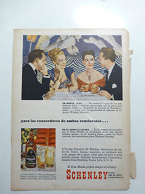 2 SCHENLEY WHISKY RARE OLD AD ADVERTISING fromARGENTINA LOT