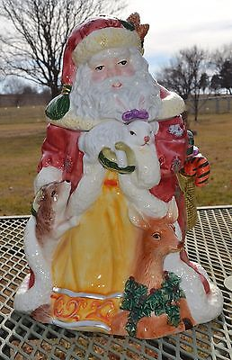 Old World - Santa Claus with Woodland Animals - Cookie Jar - Gorgeous!