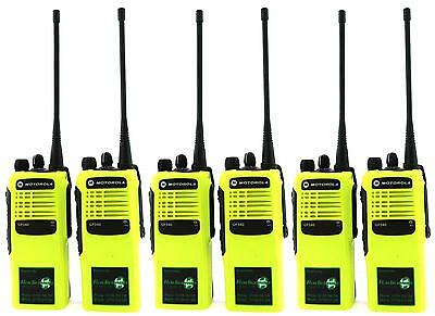 MOTOROLA GP340 UHF 4 WATT TWO WAY WALKIE-TALKIE RADIOS x 6 HI-VIZ YELLOW