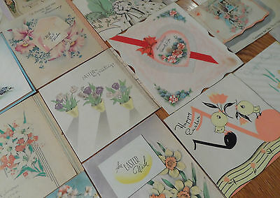 Vtg 40's Mixed Lot Greeting Cards Easter Valentine's Day & Wedding Anniversary