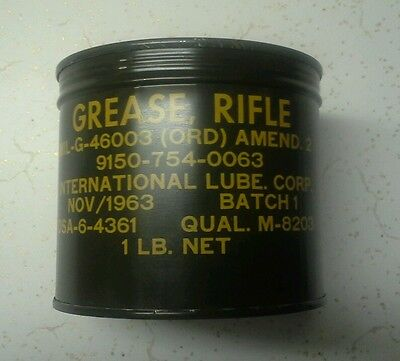 Vintage military grease can rifle nos full can 1963