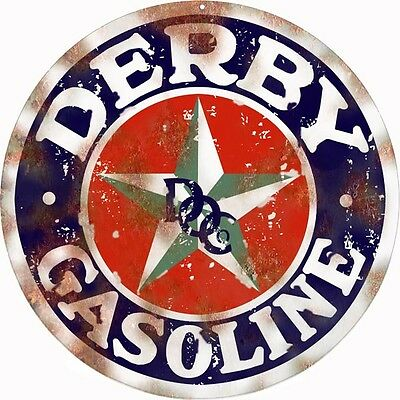 Blue Round Vintage Looking Derby Gasoline And Oil Reproduction Metal Sign