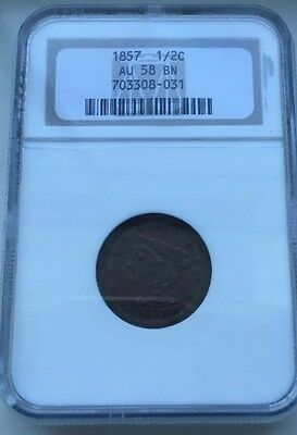 1857 Half Cent US Penny NGC Certification