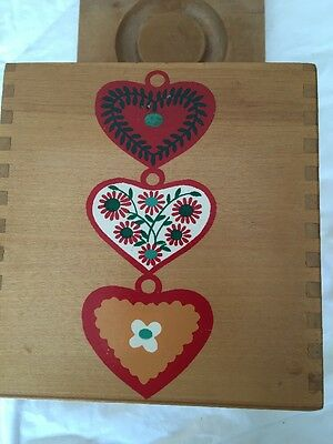 Vintage hearts On Wood Box Nesting Canisters W/ Cover DoveTail