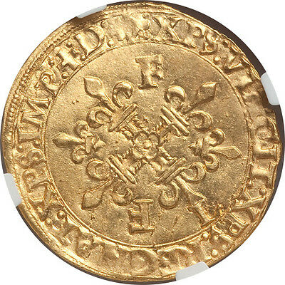 France Francois I gold Ecu d'or au soleil NGC MS-63