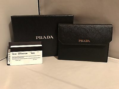 657e2fc07c3b Prada Saffiano Leather Greek Key Motif Continental Flap Wallet, Nero, MSRP  $800.