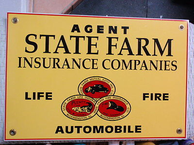 """15.5"""" X 10.5"""" State Farm Insurance Mutual Agent 2-Sided Metal Advertising Sign"""