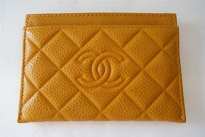 CHANEL Mustard Yellow Timeless Quilted Caviar Leather Card Holder