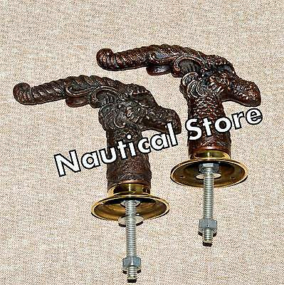 Set 2 pcs Antique Solid Metal Rem Style Retro Entry Door Handle