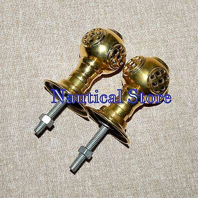 Set 2 pcs Vintage Solid Brass Helmet Knob Brass Handle Retro Entry Door Handle