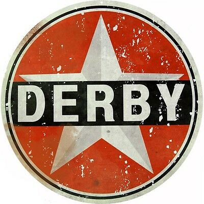 Round Vintage Looking Derby Gasoline And Oil  Reproduction Metal Sign
