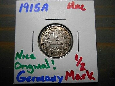 1915-A 1/2 Mark Germany  .900 silver - .0804 ASW Uncirculated Coin