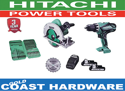 Hitachi 18v Lithium-ion Driver & 190mm Corded Circular Saw Combo + Batteries