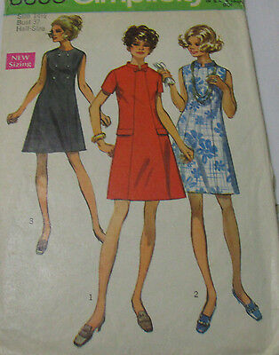 Vintage Simplicity 1960's Pattern 8603 Dress in Half Sizes Size 14.5 Bust 37