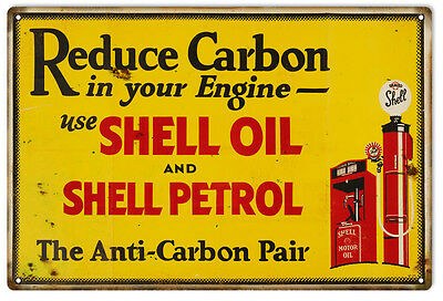 """Reproduction Reduce Carbon Use Shell Motor Oil Metal Sign 12""""x18"""""""