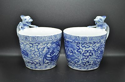 Pair Of Vintage Hand Painted Chinese Blue & White Dragon Handle Porcelain Cups