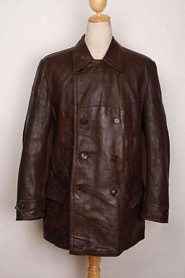 Vtg 1950s Brown Leather PEA COAT Size Large