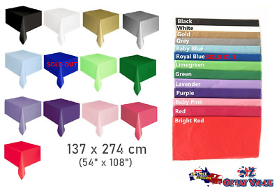 Heavy Duty Plastic Table Cloth 137x274cm Washable Table Cover Assorted Color OZ