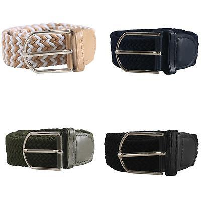 Women's Ladies Woven Stretch Braided Elastic Leather Buckle Belt Waistband Witty