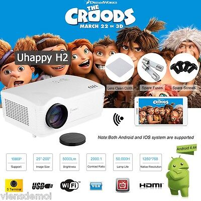 WiFi Android Full HD 1080p LED 5000lUMEN TV Home Projector 3D VIDEOPROIETTORE IT
