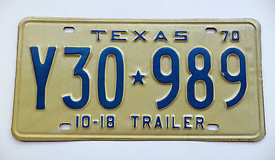 1970 TEXAS 10-18 TRAILER License Plate VintageTag # Y30*989 Nice Expired Plate