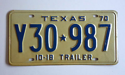 1970 TEXAS 10-18 TRAILER License Plate VintageTag # Y30*987 Nice Expired TAG