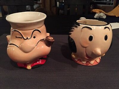 Popeye and Olive Ceramic Mugs-1980 Kings Feature Syndicate