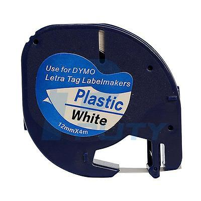 91201 Black on White Compatible for DYMO LetraTag Plastic  Label Tapes 12MMx4M