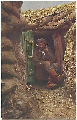 German WW1 Postcard 'Soldier On The Telephone In The Trenches' 1914-1918 (594)