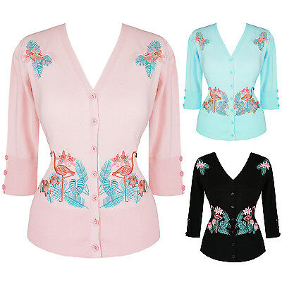 Womens Kitsch Flamingo Rockabilly 1950s Vintage Retro Americana Cardigan Top