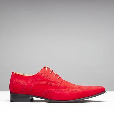 8bb7b45f208 Mister Carlo SALVATORE Mens Formal Lace Up Red Suede Pointed Dress Shoes