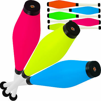 Set Of 3 Jac Products Circus Fluorescent UV Juggling Clubs White Handles
