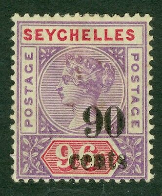 SG 21 Seychelles 90c on 90c. Fine mounted mint CAT £70