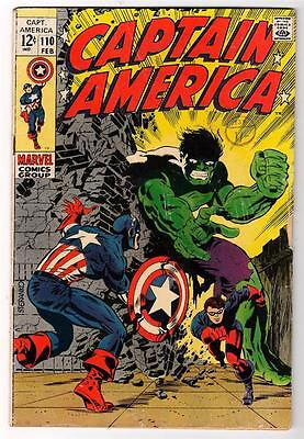 Marvel Comics CAPTAIN AMERICA  #110 VG 4.0  Versus Battle HULK COVER Avengers