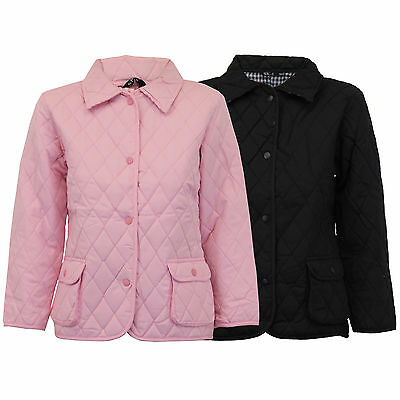 Girls Diamond Quilted Padded Jacket Kids Coat Checked Tartan Lined Summer New