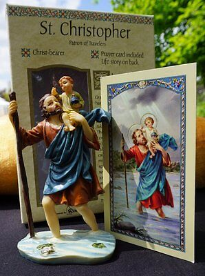 st christopher figurine with prayer card patron of travellers picclick uk. Black Bedroom Furniture Sets. Home Design Ideas
